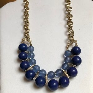 JCrew Blue Beaded Statement Necklace